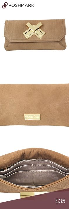 """Deux Lux Women's Double-cross Wallet Camel This double cross wallet is a Deux Lux favorite and best seller! It's fully functional interior will keep you organized. The neutral camel color will match any handbag or outfit and can be used as a small clutch on a fancy night out! Front Double Cross Closure 1 Front Slip Pocket, 8 credit card and ID slots, 1 Back Zip Pocket, 2 Bill Dividers Faux Vegan Leather Chevron Print Canvas Lining 9""""L x 5""""H Deux Lux Bags Wallets"""