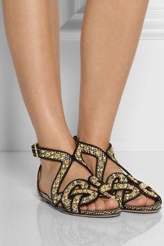 Alaïa|Studded faux raffia sandals. Size 40. Preloved designer shoes Pelle in Paddington, Sydney.