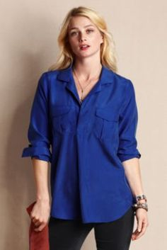 Women's Silk Utility Popover Shirt from Lands' End Canvas
