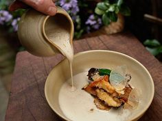 Poured tableside is our Minestra of Exotic Mushrooms