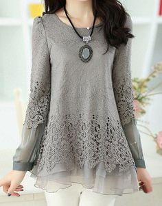 $14.30 Lace Splicing Scoop Neck Long Sleeve Casual T-Shirt For Women