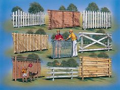 I like the bottom right idea. 9 FENCE AND GATE DESIGN PLAN IDEAS. Ideas for security, privacy and beauty. From wood framing to chain link fencing. Guides to help you estimate, buy and build. Complete list of materials, Step-by-step instructions Backyard Projects, Outdoor Projects, Garden Projects, Backyard Ideas, Garden Ideas, Outdoor Decor, Outdoor Landscaping, Outdoor Gardens, Fence Gate Design