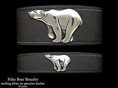 Polar Bear Leather Bracelet Sterling Silver Polar Bear on Leather Bracelet
