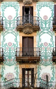 Beautiful facade in Barcelona, Spain. Balconies with intricate tile designs on the walls surrounding them. You can find so much beauty for your eyes in Barcelona, the city is full of unusual and captivating architecture. Art Nouveau Architecture, Architecture Details, Barcelona Architecture, Art Deco, Beautiful Buildings, Beautiful Places, Oh The Places You'll Go, Windows And Doors, Monuments