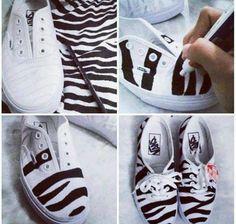 DIY zebra sneakers! Zo maak je het voor weinig geld en bespaar je nieuwe schoenen -> www.budgi.nl #budgettips #lifestyle #genietméérvoorminder