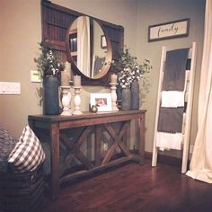 43 Amazing Farmhouse Entryway Decoration Ideas – Life and home made ideas Decor, Furniture, Interior, Living Room Decor, Home Decor, House Interior, Interior Design, Home And Living, Rustic House