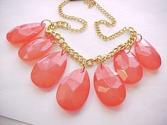 I'm auctioning 'watermelon color pear cut necklace' on #tophatter