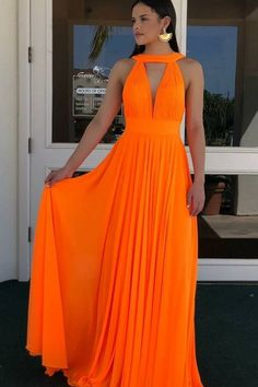 Simple Orange Chiffon Long Prom Dress from modseleystore Orange Prom Dresses, Grad Dresses Long, Gala Dresses, Backless Prom Dresses, Orange Dress, Dress Outfits, Evening Dresses, Bridesmaid Dresses, Party Dresses