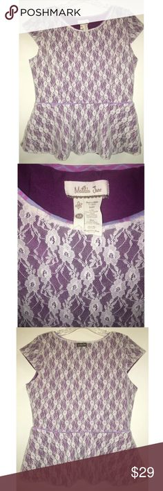 """Matilda Jane Pippenger Peplum Lace Cap Sleeve Thislisting is for a women's purple and ivory lace Matilda Jane blouse.  It is in excellent pre-owned condition, with no notable wear. Please refer to the photos andscroll across the thumbnails for more angles.  It is a sizemedium,. The shoulder tohem is 23"""". Laying flat, fromunderarm tounderarm is 18"""".   Do not miss outon thisgorgeousaddition to yourwardrobe! Matilda Jane Tops Blouses"""