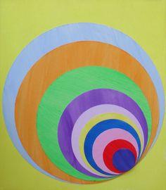"Yellow 590, 9""X10"" Acrylic and fabric on panel. 2013."