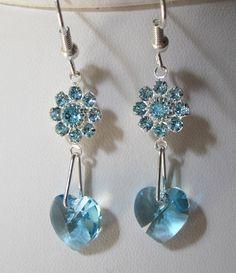 Aquamarine Swarovski Crystal Flowers and Heart Earrings - Dangle Earrings Perfect for a Wedding, Bridal, Bridesmaid, Prom, Formal, Elegant