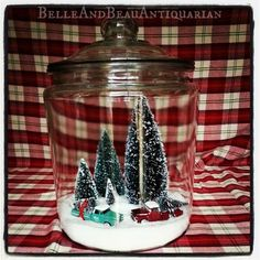 Belle & Beau Antiquarian: Christmas Scenes in Glass Canister Jars