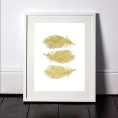 Gold Foil Feather Print, Feather Wall Art, Feather Wall Print, Gold Wall Print, Feather Print, Feather Poster, Foil Print, Gold Foil