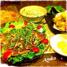今日は、和食〜(≧∇≦) - 131件のもぐもぐ - かつおのタタキ、小アジの南蛮漬け、コンニャクの白和え、エビと空豆のかき揚げ(抹茶塩)、水ナス漬け by ayako1015