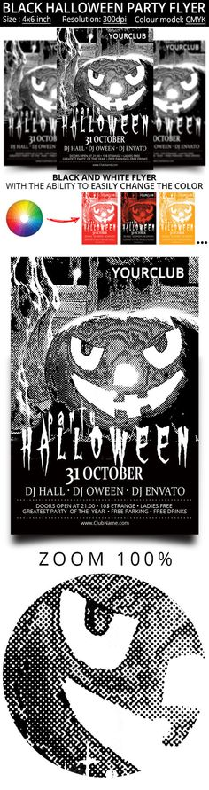 Black and white flyer for the Hallow by oloreon on Creative Market