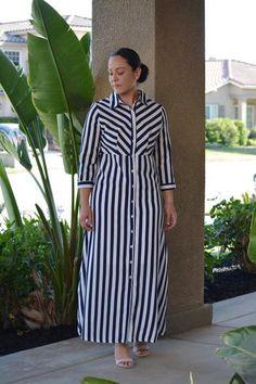 Emery Navy Striped Maxi Kurta Designs Women, Kurti Neck Designs, Dress Neck Designs, Stylish Dresses For Girls, Casual Dresses, Modest Fashion, Women's Fashion Dresses, Black White Striped Dress, Striped Maxi