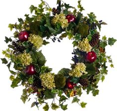 Hydrangea & Pomegranate Wreath $179 This silk wreath starts off with a grapevine base and ivy. Then it is decorated with hydrangea, apples, pinecones, and berries to embellish. Lovely year round wreath for spring or fall.