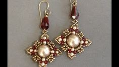 Sidonia's 'Oriental' Earrings YouTube Video Instructions - Uses 11/0 & 15/0 seed beads, 10mm & 3mm Swarovski crystal pearls and 3mm Swarovski crystal bicone with fire polished pendant.