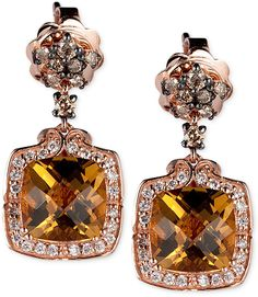 Cognac quartz, white diamond, brown diamond, and rose gold drop earrings (Chocolatier Collection from Le Vian)
