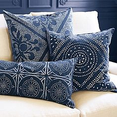 Serena and Lily-Batik inspired-Camille Diamond Medallion Pillow Cover Throw Pillows Bed, Decor Pillows, Lumbar Pillow, Decorative Throw Pillows, Cushions On Bed, Navy Blue Throw Pillows, Neutral Pillows, Throw Pillow Covers, Accent Pillows