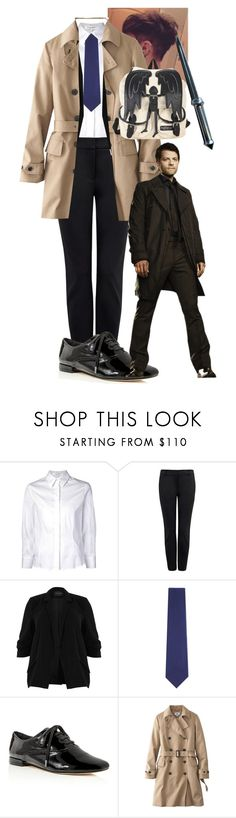 """""""Castiel"""" by sleepyfangirl ❤ liked on Polyvore featuring Carolina Herrera, River Island, Brioni, Joie, Uniqlo and Hot Topic"""