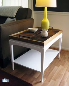 really love this...painted side table and handmade tray
