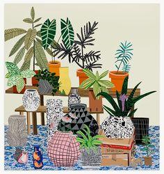 christopherschreck:  painting by Jonas Wood, featuring pots by Shio Kusaka