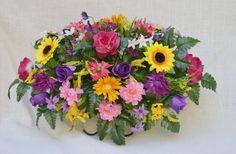 No. 5027 Summer Cemetery Arrangement , Headstone saddle, Grave,   Tombstone arrangement,  Cemetery flowers