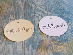 Étiquettes merci, étiquette merci mariage, étiquette merci shower, étiquette vêtements, étiquettes bijoux «Modèle H» anglais ou Français de la boutique Lamainalacarte sur Etsy