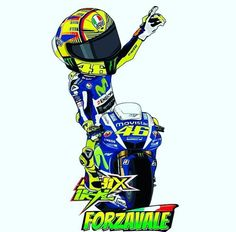 Forza Vale Motorcycle Posters, Motorcycle Art, Valentino Rossi Logo, Gp Moto, Yamaha Motorcycles, Vr46, Sportbikes, Ducati, Cartoon