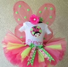 Pink & Lime Ladybug w/ Wings Girls Birthday Tutu Outfit