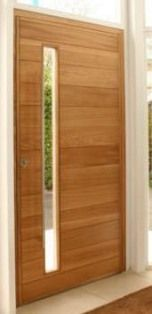 M025 puerta de entrada de madera con ventanita Door Design, House Design, Wooden Words, External Doors, Entrance Foyer, Aluminium Doors, Modern Door, Main Door, Room Doors