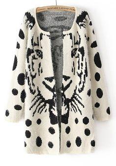 White Tiger Print Wrap Thick Wool Blend Cardigan