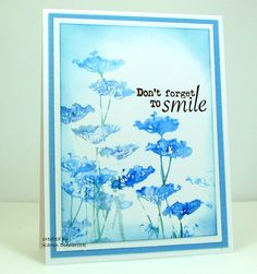 """By Karen Dunbrook. Use wide paintbrush to wet flower stamp from """"Insightful Meadows"""" (Unity). Color with watercolor crayons. Spritz with water. Stamp onto watercolor paper."""