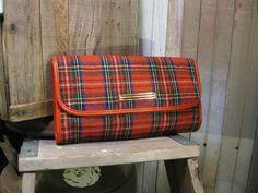 Vintage Stewart Tartan 70's wool clutch.