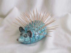 hérisson raku sculpture céramique grès  artisanal fait main Danièle MEYER