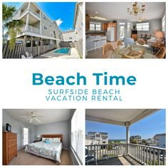 Beach Time is a five-bedroom, four-and-a-half-bath second row home located 0.4 miles south of Surfside Pier and a short two minute walk to the beach.  Four TVs and Wi-Fi are also provided. Sleeping accommodations include one king and four queen, and two double-sized beds (second floor). Two bedrooms have a private bath. Outdoor amenities include a private swimming pool, covered porch, and grill. Dog friendly. No smoking. Check-out maid service included. Linens included. Maximum occupancy: 14 Two Bedroom, Bedrooms, Surfside Beach, Beach Vacation Rentals, Second Floor, Tvs, View Photos, Wi Fi, Swimming Pools