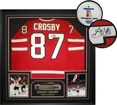Sidney Crosby Autographed/Hand Signed Framed Jersey Canada Replica ... Framed Jersey, Sidney Crosby, Canada, Signs, Shop Signs, Dishes