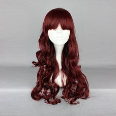 60cm Wine Red Full Bang Wavy Harajuku High Temperature Heat Friendly Synthetic Costume Cosplay Wig