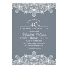 Bluish Grey 40th Birthday Party Creative Lace Card - birthday gifts party celebration custom gift ideas diy