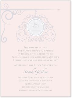 Hanging Clock Light Pink Bridal Shower Invitations - neat idea for a bridal shower