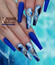 I'm Obsessed With Those Blue Coffin Nails Design! Bling Acrylic Nails, Blue Coffin Nails, Best Acrylic Nails, Summer Acrylic Nails, Bling Nails, Pastel Nails, Cute Acrylic Nail Designs, Beautiful Nail Designs, Nail Art Designs