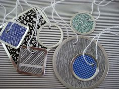 Made using the lovely insides of security envelopes and a Making Memories tag maker. On hand: metal rims for tags, string Upcycled: Security envelopes Cost: Free Envelope Art, Envelope Liners, Diy Paper, Paper Art, Paper Crafts, Security Envelopes, Crafts Beautiful, Beautiful Things, Craft Tutorials