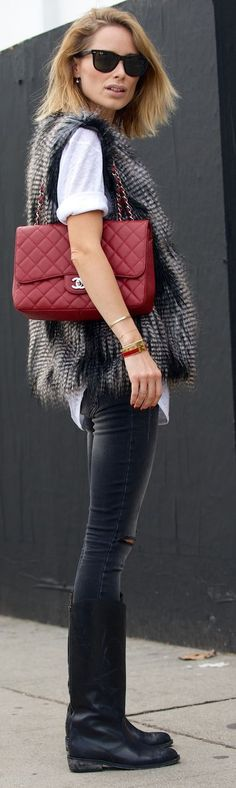 fur vest, black skinnies, ripped jeans, knee boots, ankle boots, red bag, chanel bag, fall winter outfit