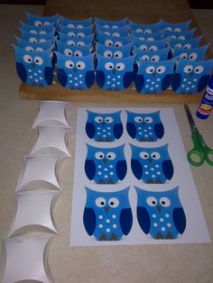 """Lolly bags"" are so last year! This party is going to have pillow box owls!!! 50 die cut pillow boxes cost me $11.00. Free owl image off the internet. Total bargain!"