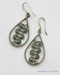 Handmade Amazonite gemstone earrings wire wrapped by WireFantasies, $37.00