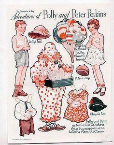 Vintage POLLY & PETER PERKINS paper dolls 1933 Gertrude Kay/uncut/Clown/Circus (02/08/2014)