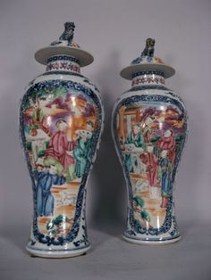 Pair Chinese Export Porcelain Vases and Covers, c. 1775 3