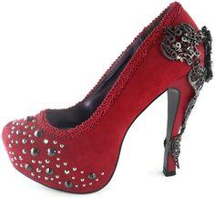 AMINA Red Crystal Stilettos