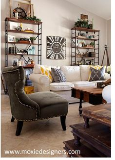 Interior Design: Industrial cottage chic combined transitional furniture with vintage and antique accessories.